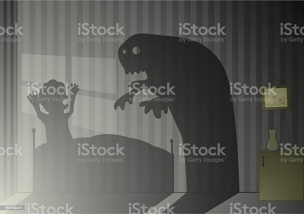 Alone in the dark vector art illustration
