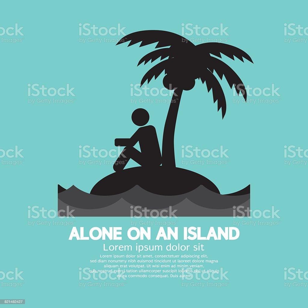 Alone on an Island Black Symbol vector art illustration