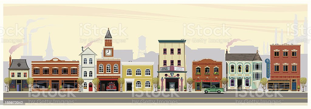 Along Main Street vector art illustration