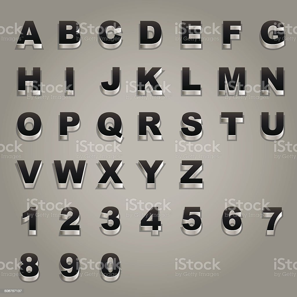 Alphabet and number royalty-free stock vector art