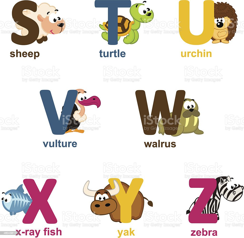 alphabet animals from S to Z vector art illustration