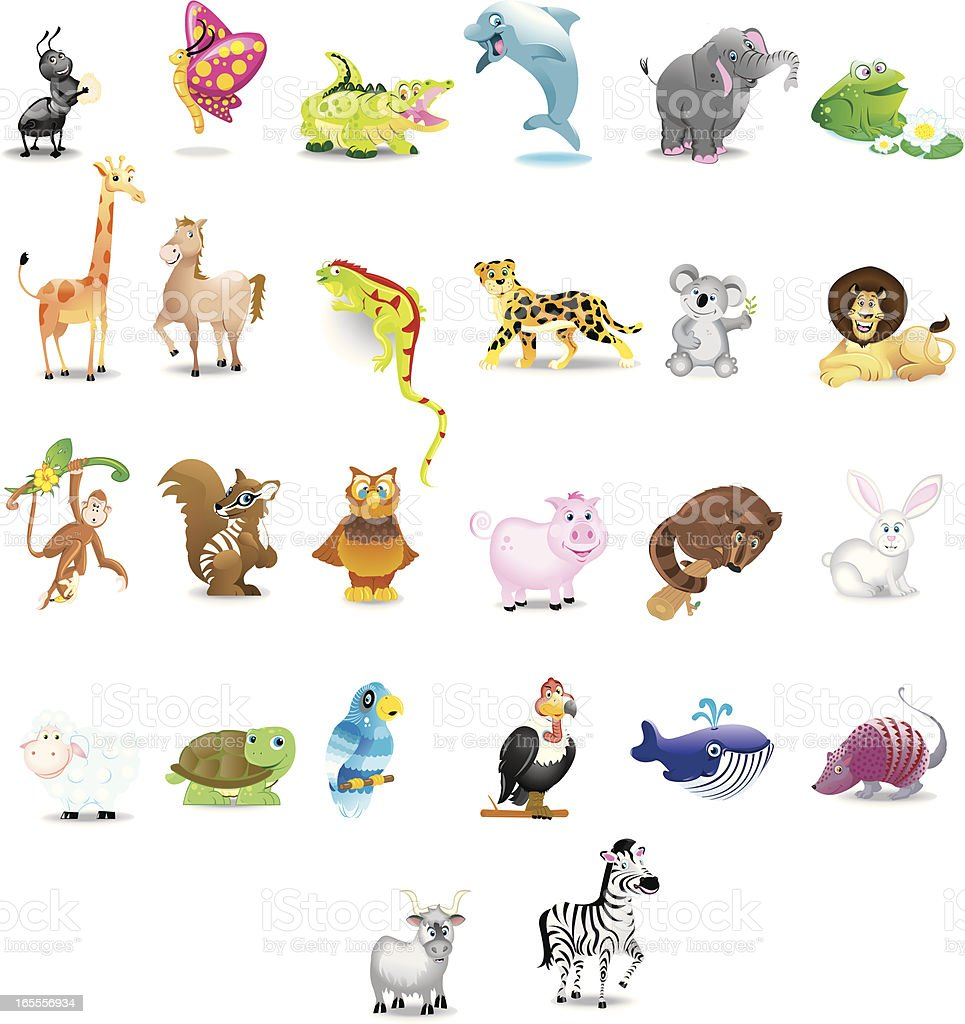 alphabet animals royalty-free stock vector art