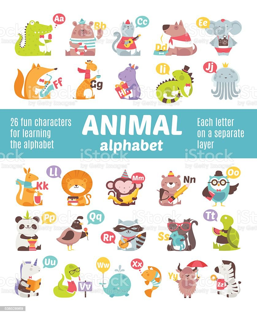 Alphabet Animals vector art illustration