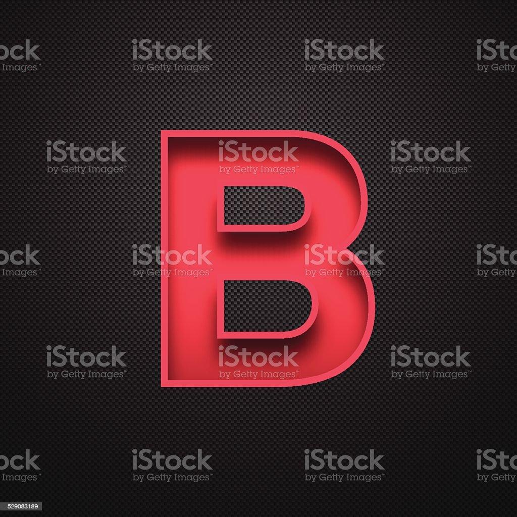 Alphabet B Design - Red Letter on Carbon Fiber Background vector art illustration