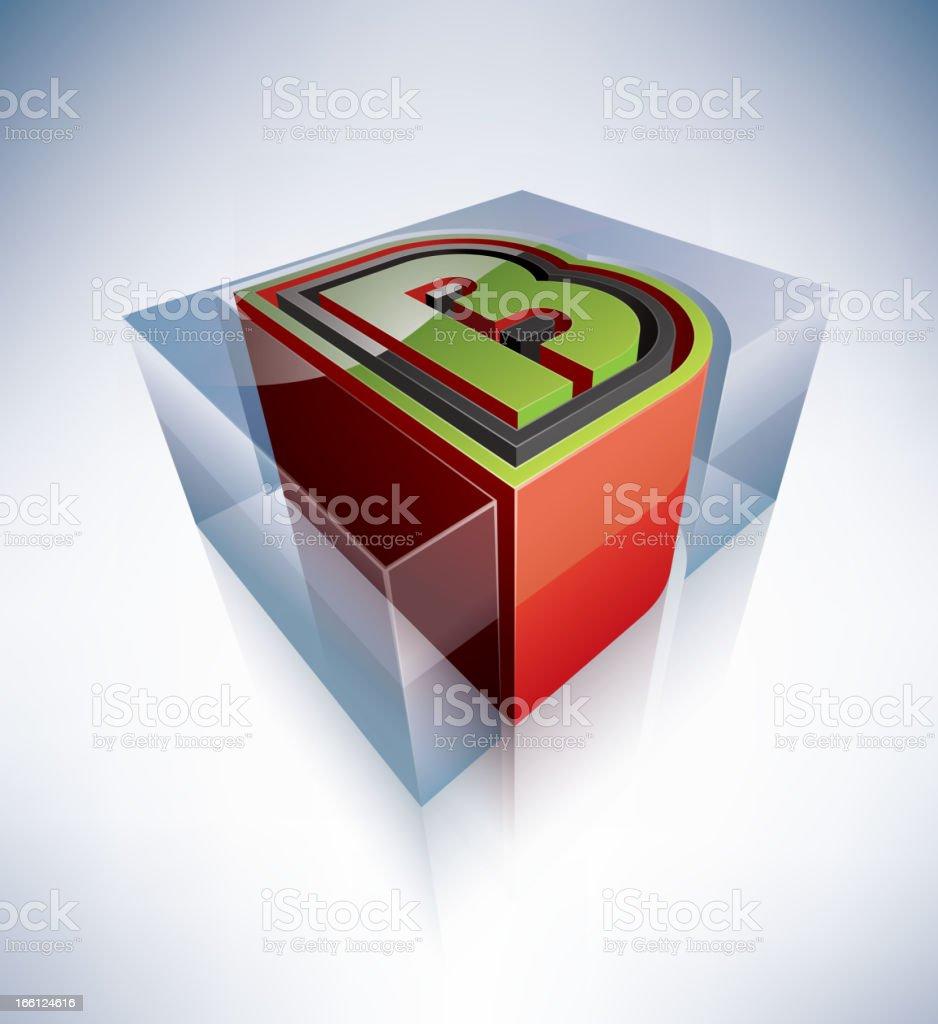 3D alphabet: B royalty-free stock vector art
