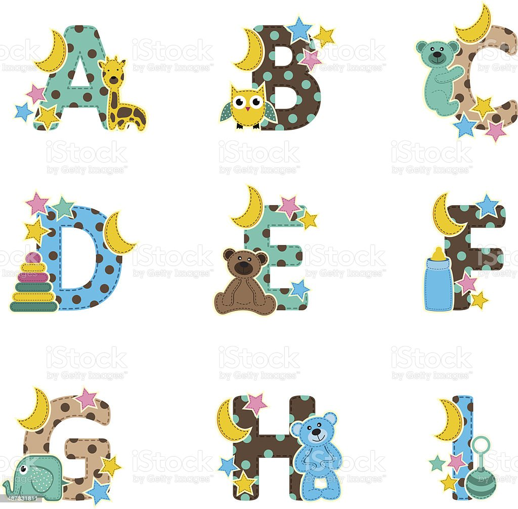 alphabet baby from A to I - vector illustration royalty-free stock vector art
