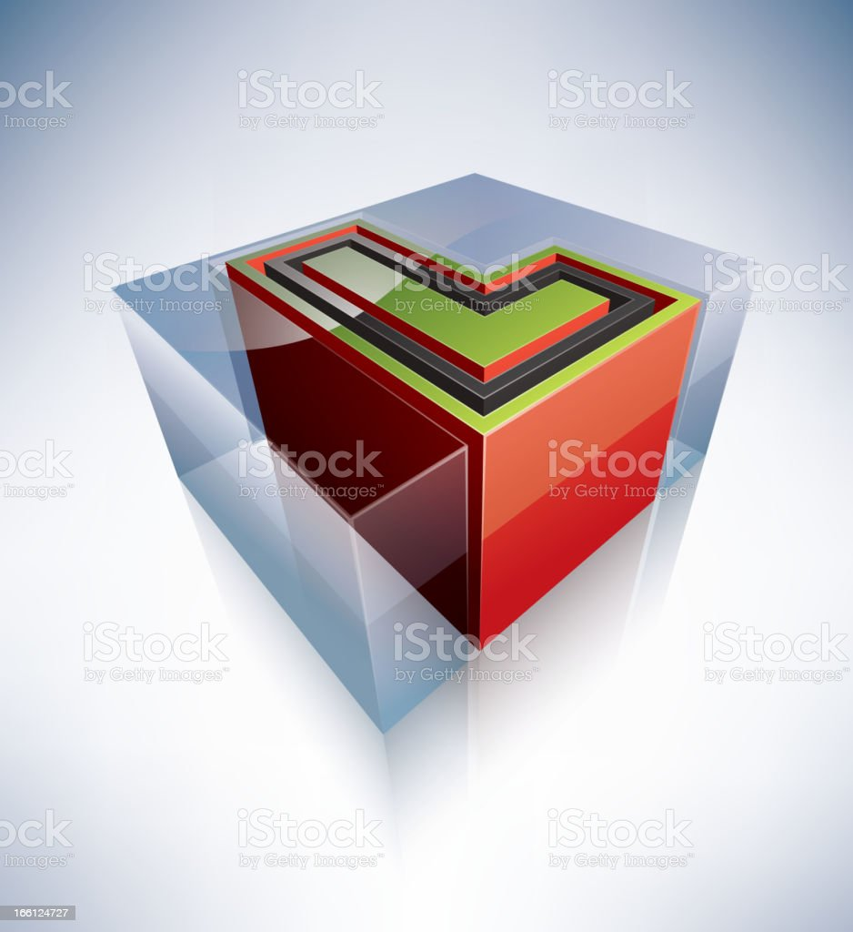 3D alphabet: Capital letter L royalty-free stock vector art