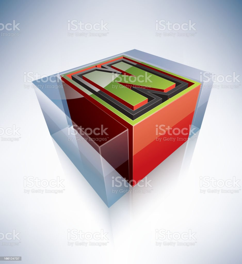 3D alphabet: Capital letter N royalty-free stock vector art