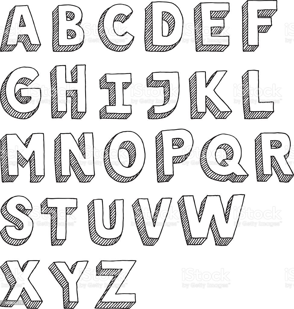 Alphabet Capital Letters Sans Serif Drawing vector art illustration
