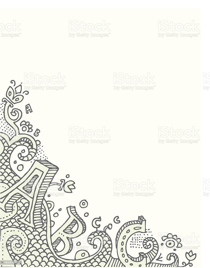Alphabet corner doodle royalty-free stock vector art