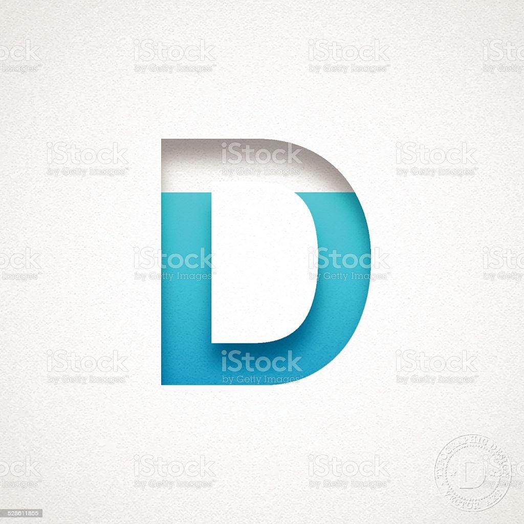 Alphabet D Design - Blue Letter on Watercolor Paper vector art illustration