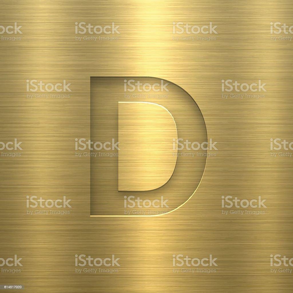 Alphabet D Design - Letter on Gold Metal Texture vector art illustration