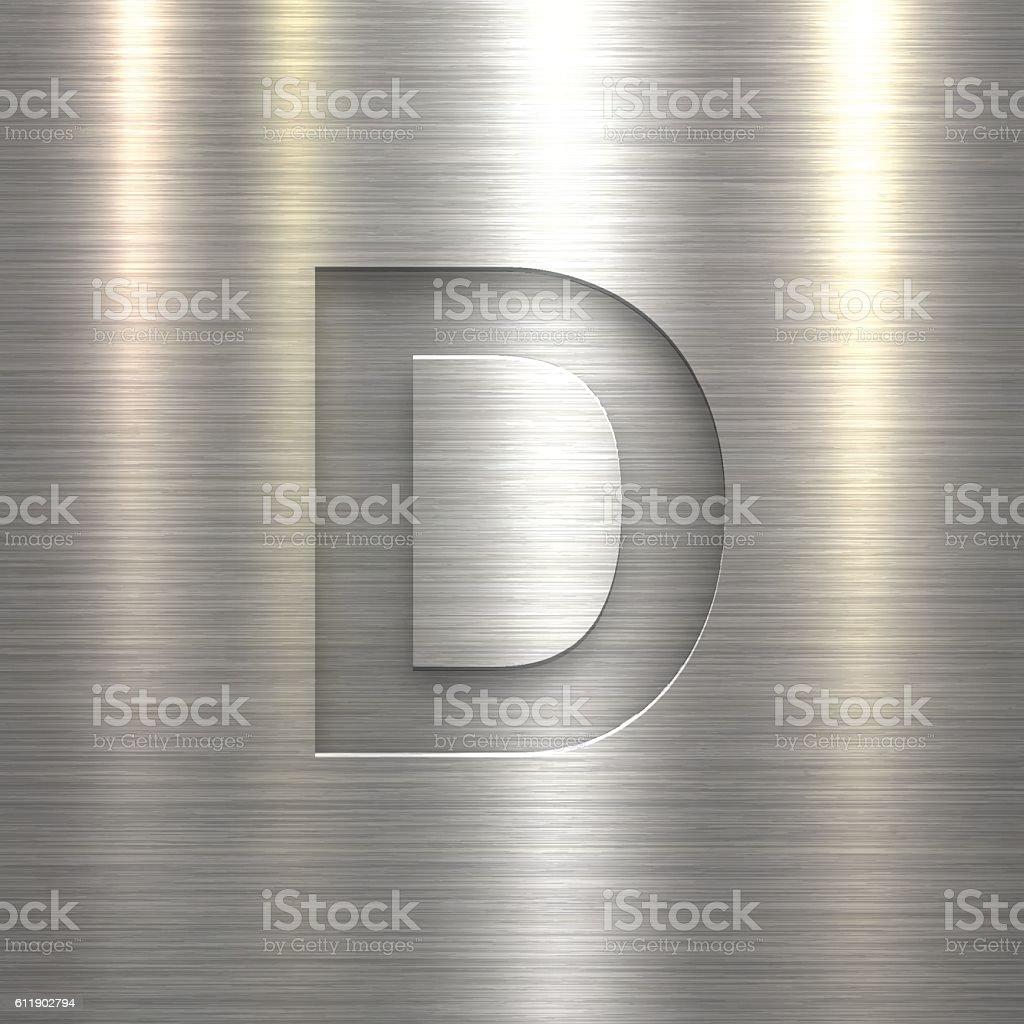 Alphabet D Design - Letter on Metal Texture Background vector art illustration