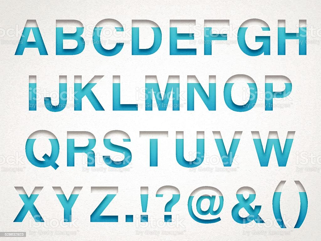 Alphabet Design - Blue Letter on Watercolor Paper vector art illustration