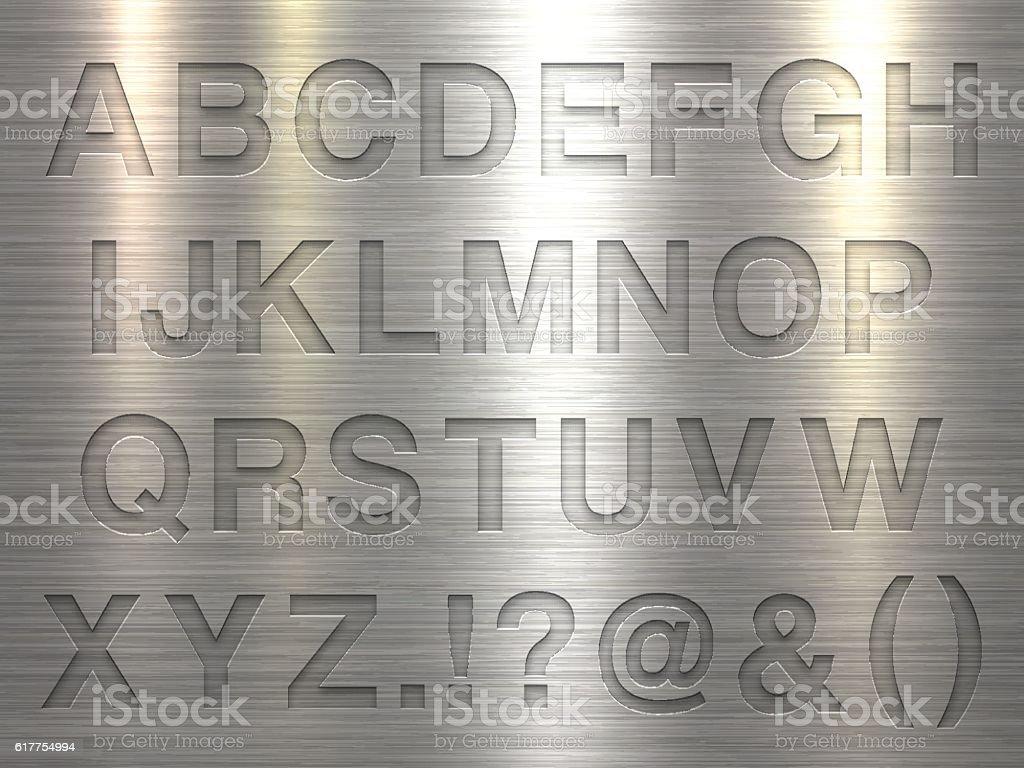 Alphabet Design - Letters on Metal Texture Background vector art illustration