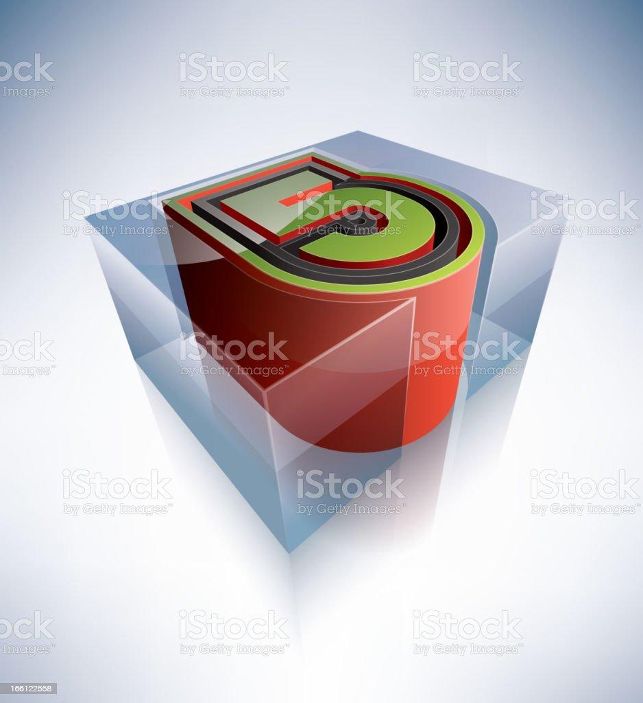 3D alphabet: Digit 5 royalty-free stock vector art