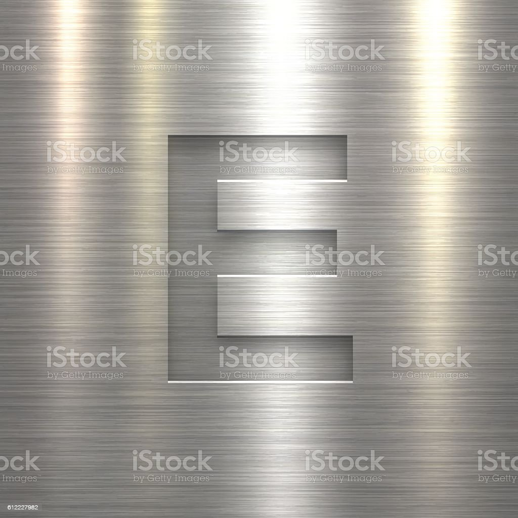 Alphabet E Design - Letter on Metal Texture Background vector art illustration