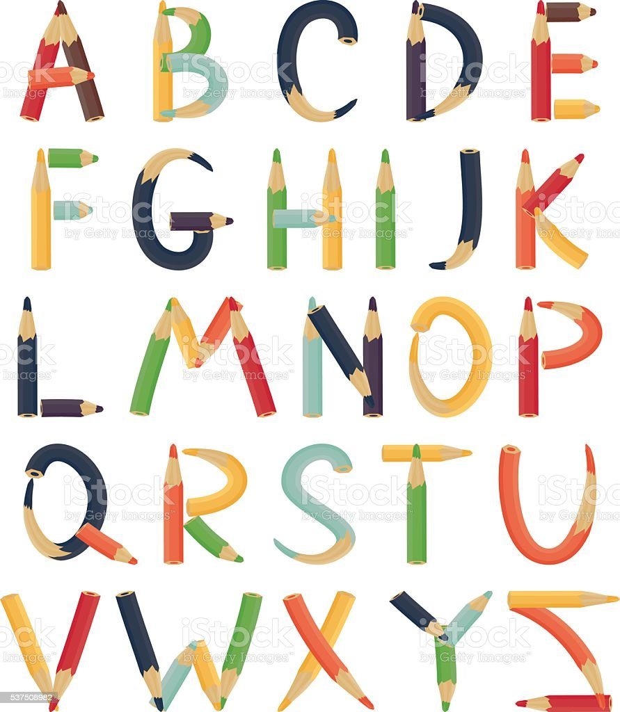 Alphabet formed by colorful pencil. vector art illustration