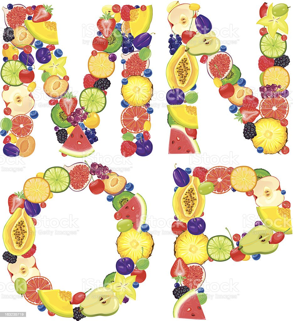 Alphabet from fruit.Letters M,N,O,P royalty-free stock vector art