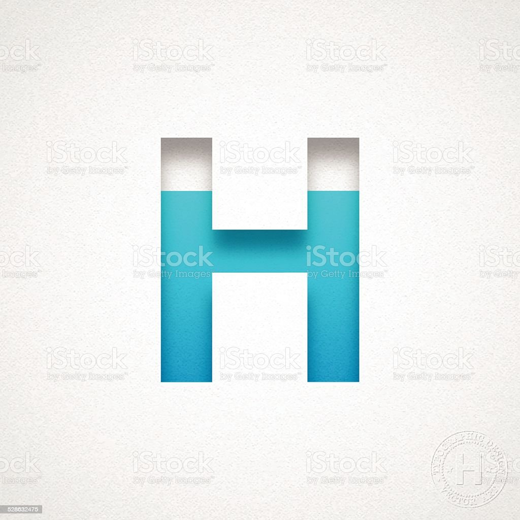 Alphabet H Design - Blue Letter on Watercolor Paper vector art illustration