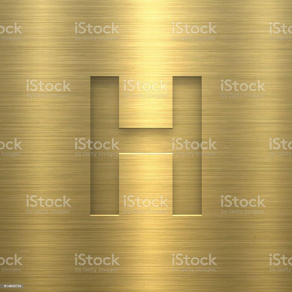 Alphabet H Design - Letter on Gold Metal Texture vector art illustration