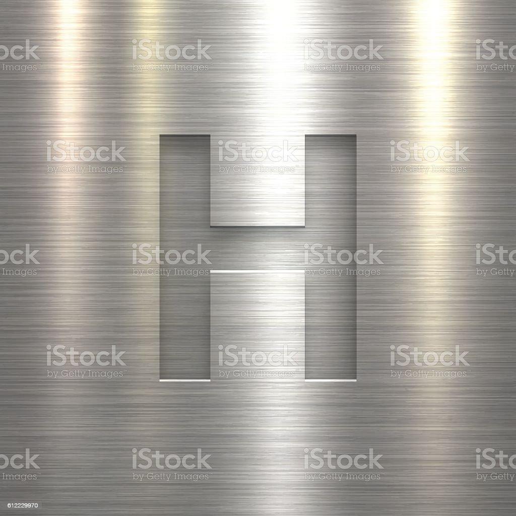 Alphabet H Design - Letter on Metal Texture Background vector art illustration