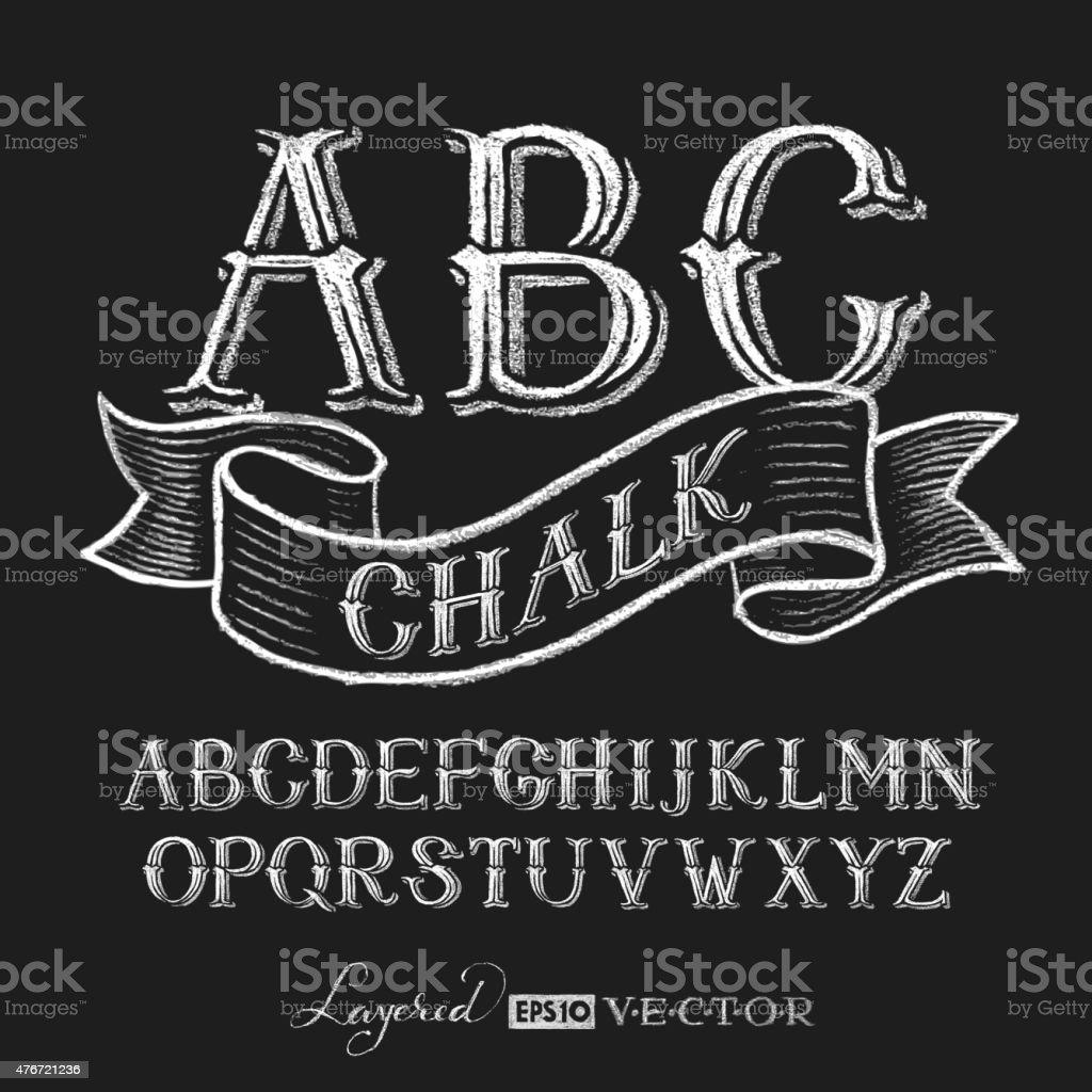 Alphabet hand drawn on chalkboard vector art illustration