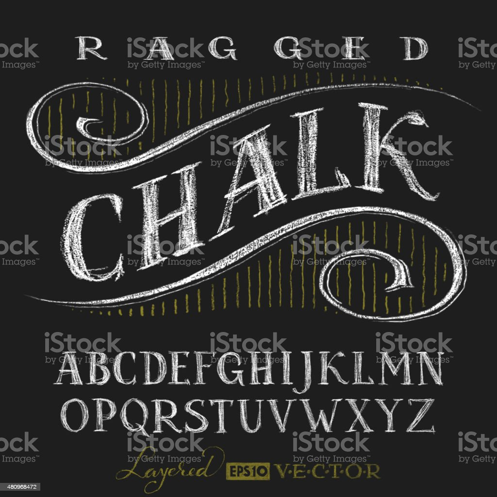 Alphabet hand drawn on chalkboard vector art illustration