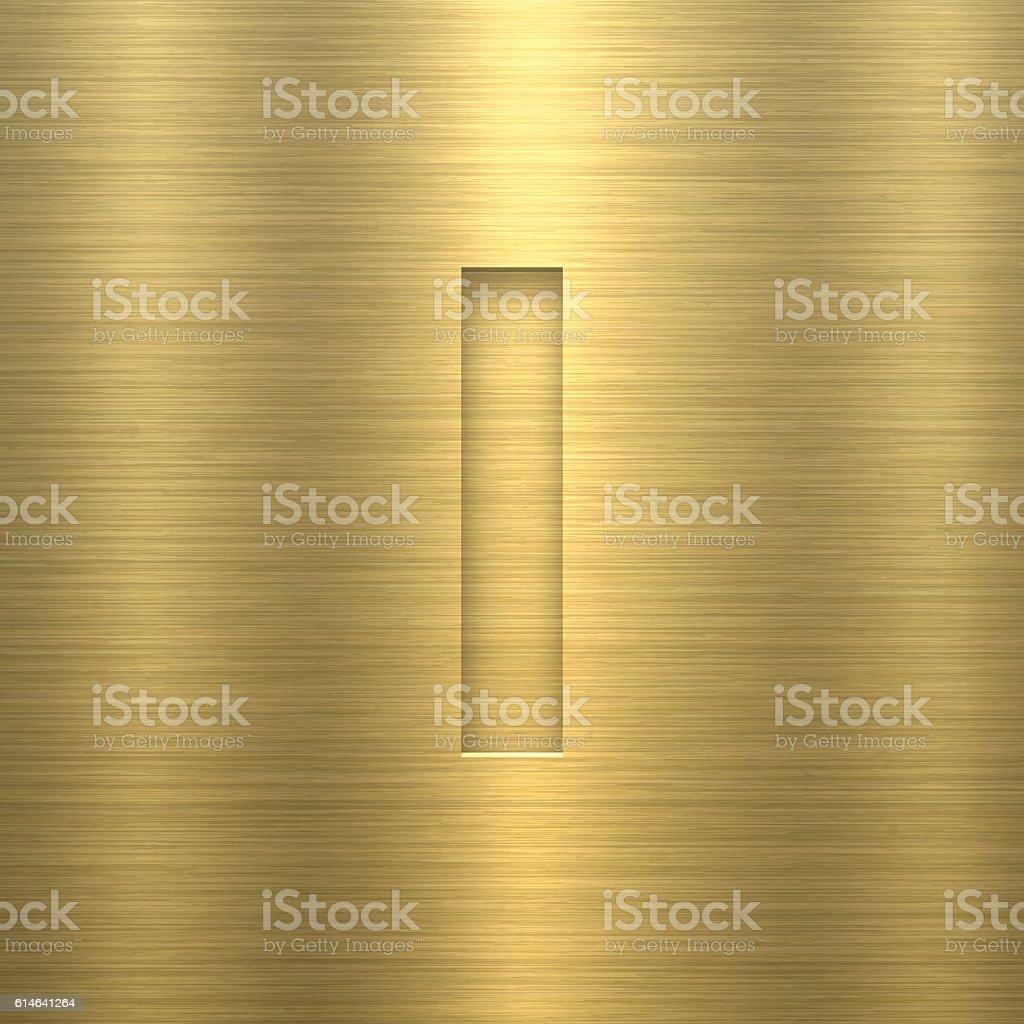 Alphabet I Design - Letter on Gold Metal Texture vector art illustration