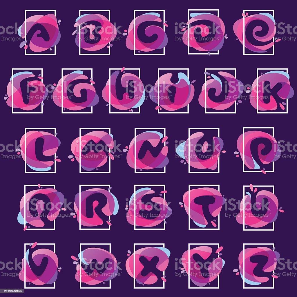 Alphabet icons in square frame at multicolor splash background. vector art illustration