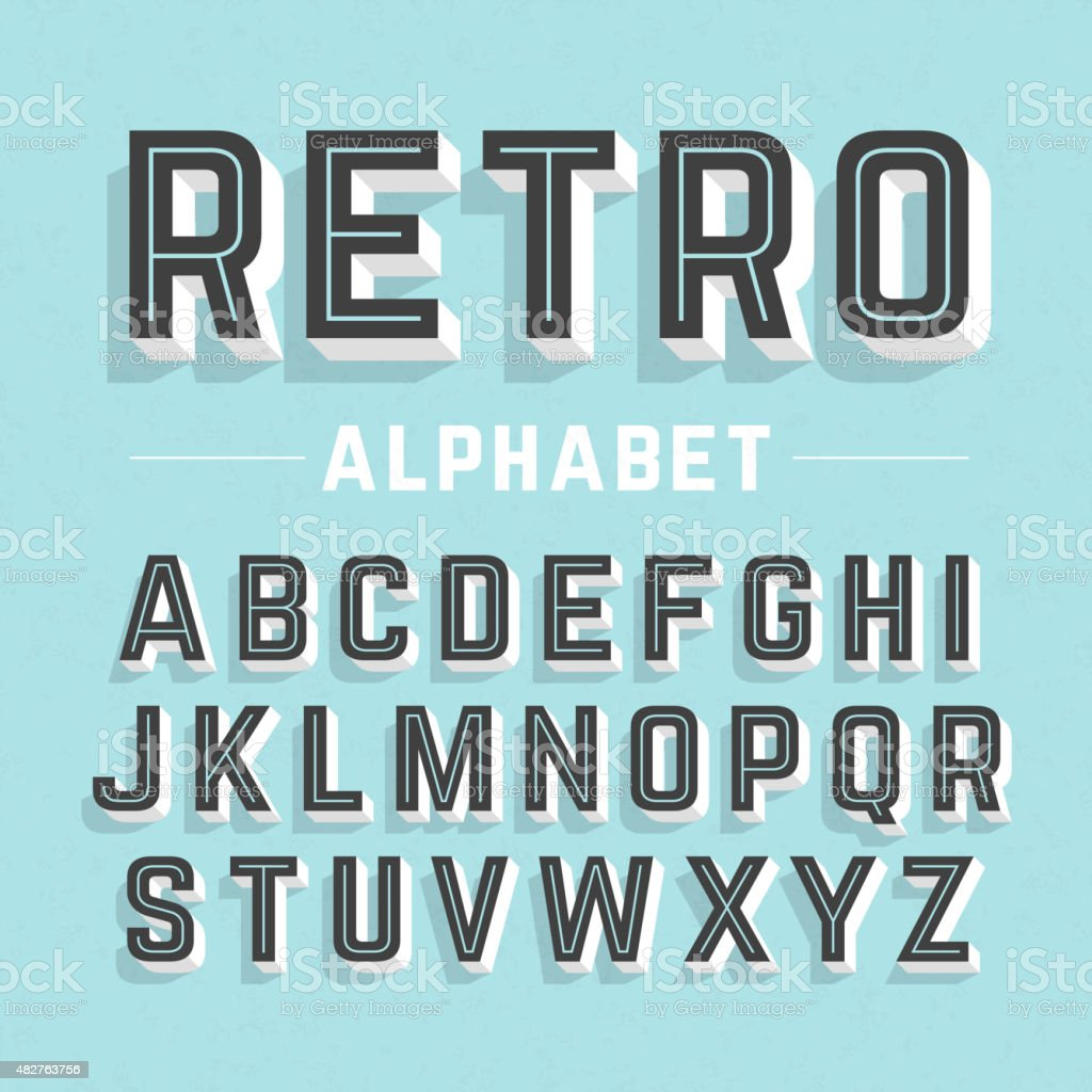 Alphabet in a retro style vector art illustration