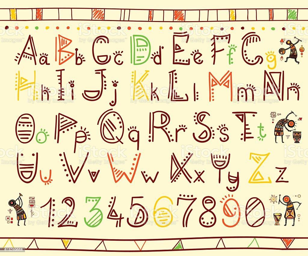 Alphabet in african ethnic style vector art illustration