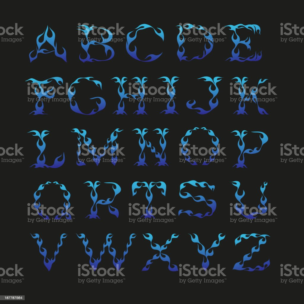 Alphabet isolated on a black backgrounds royalty-free stock vector art