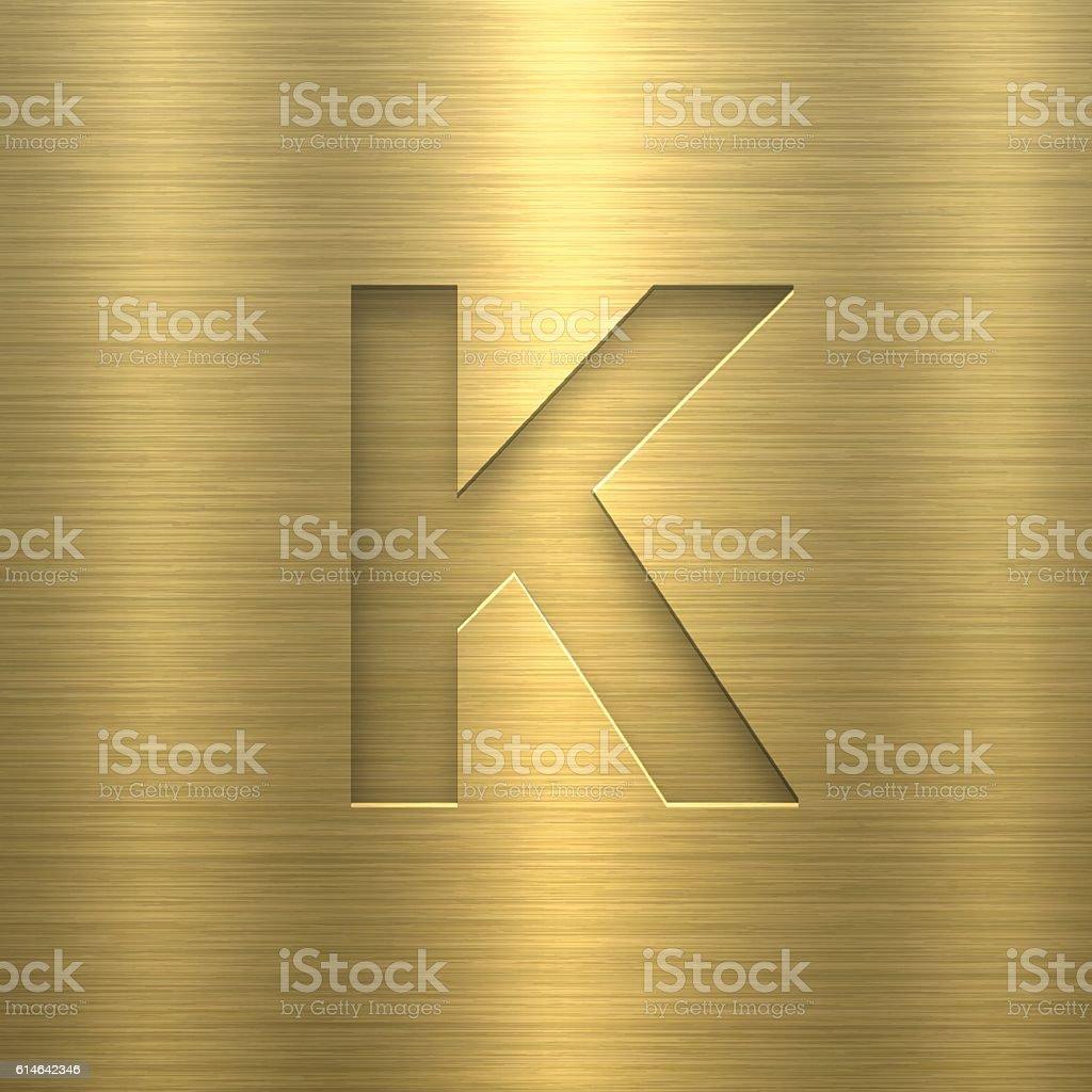 Alphabet K Design - Letter on Gold Metal Texture vector art illustration