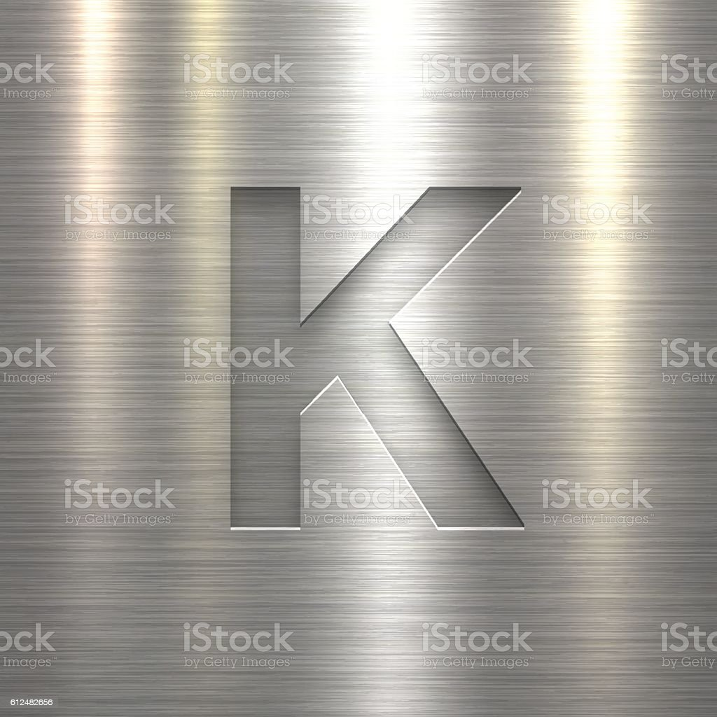 Alphabet K Design - Letter on Metal Texture Background vector art illustration