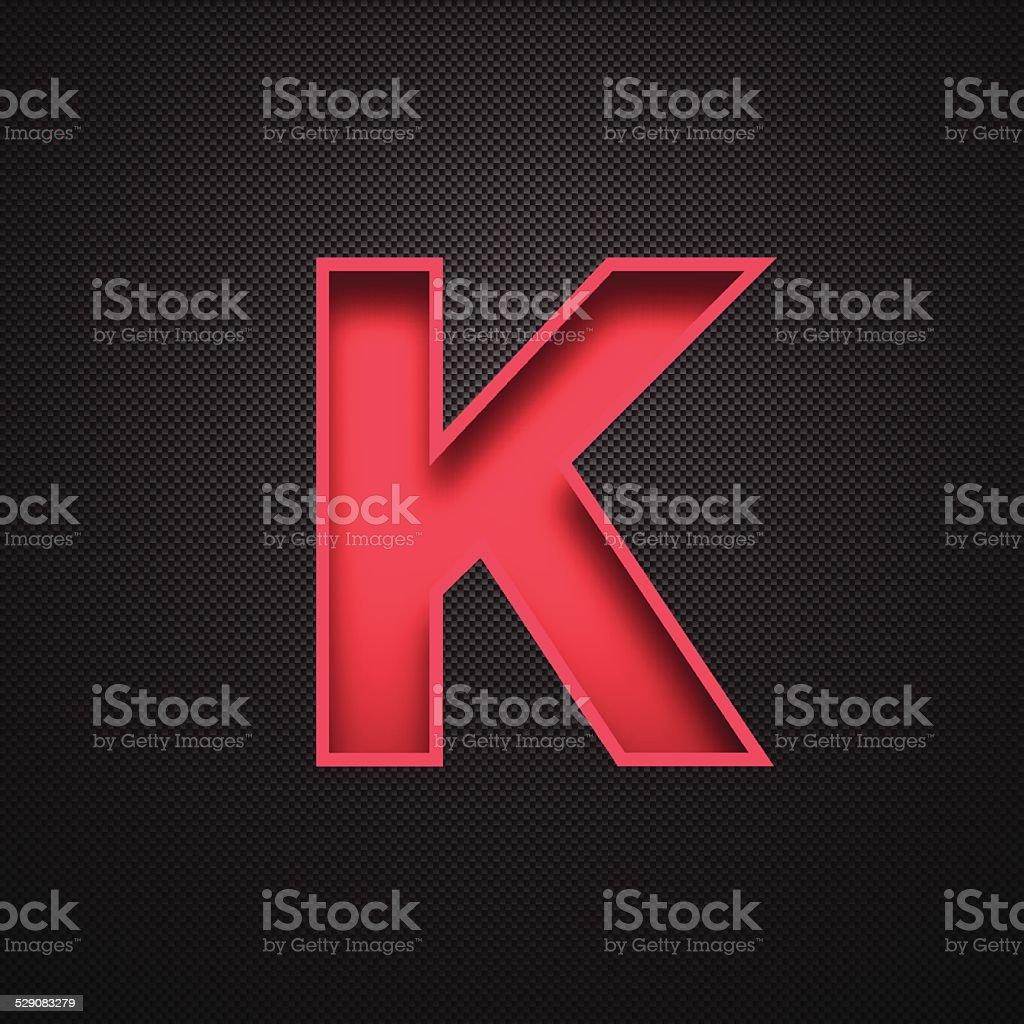 Alphabet K Design - Red Letter on Carbon Fiber Background vector art illustration