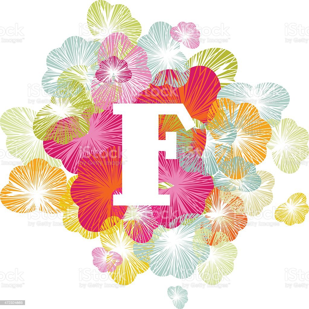 Alphabet letter F initial uppercase floral royalty-free stock vector art