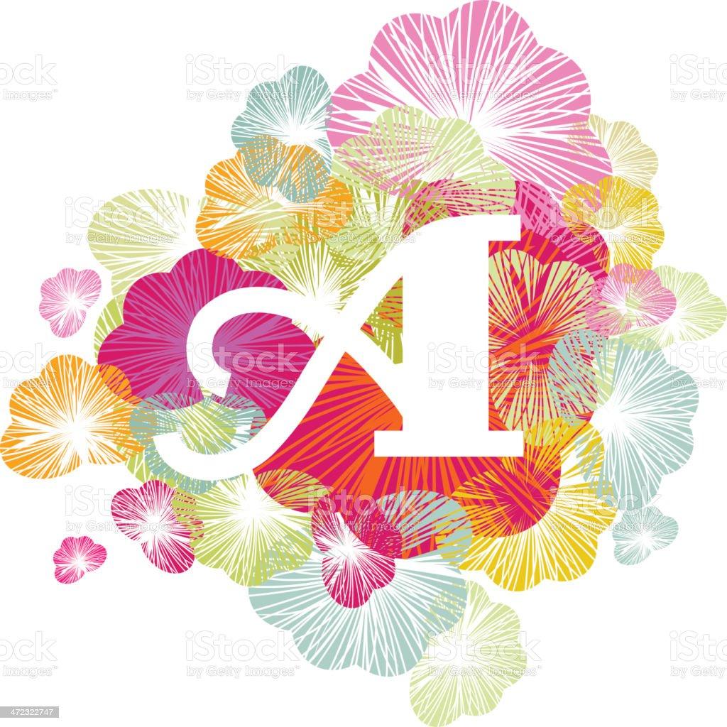 Alphabet letter floral initial upper case royalty-free stock vector art