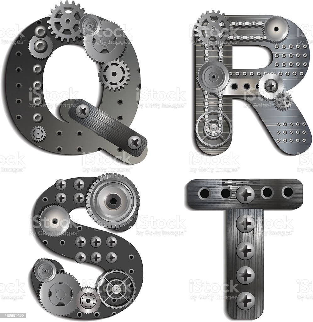 Alphabet letters composed of gears and black plastic vector art illustration