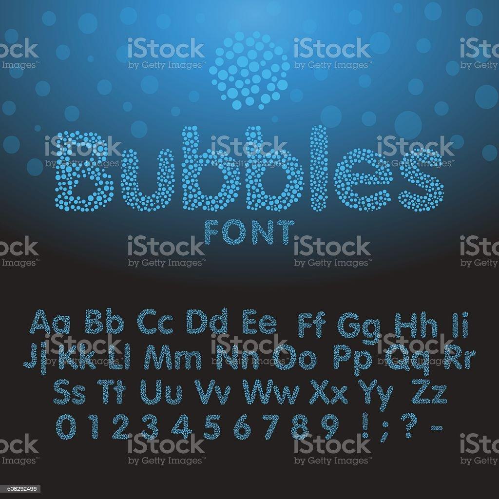 Alphabet letters consisting of blue bubbles vector art illustration