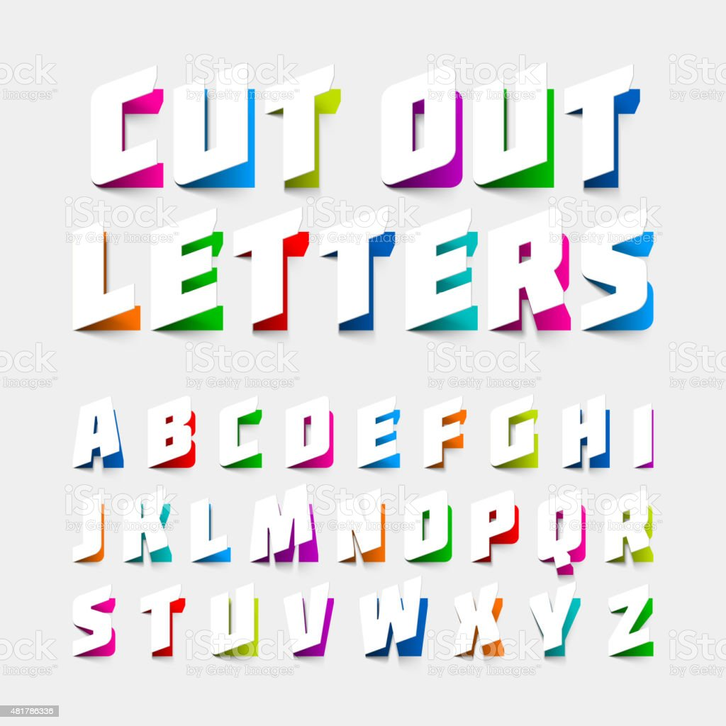 Alphabet letters cut out from paper vector art illustration