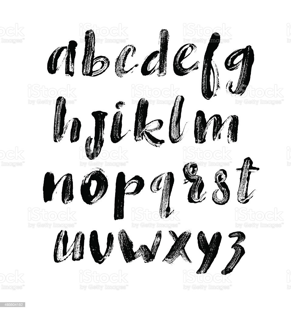 Alphabet letters. Prints of letters.  Hand drawn letters. vector art illustration