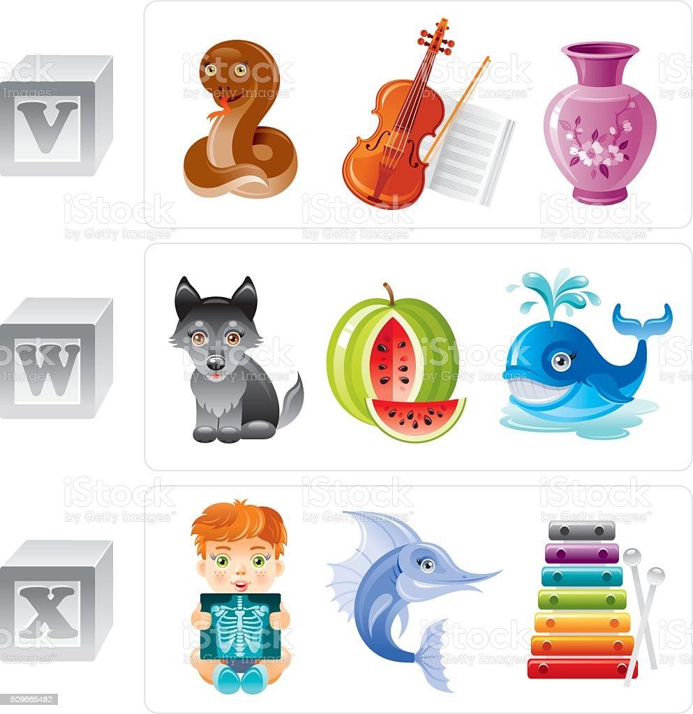 Alphabet letters V, W, X icon set vector art illustration