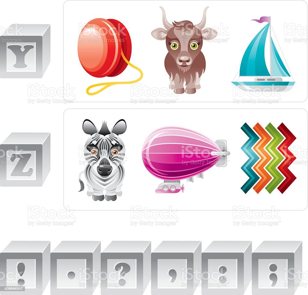 Alphabet letters Y, Z and punctuation marks icon set vector art illustration