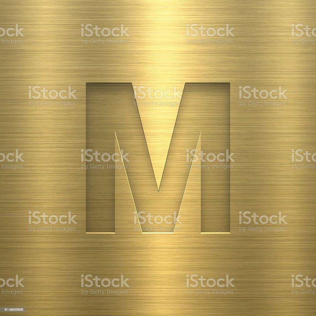 Alphabet M Design - Letter on Gold Metal Texture vector art illustration