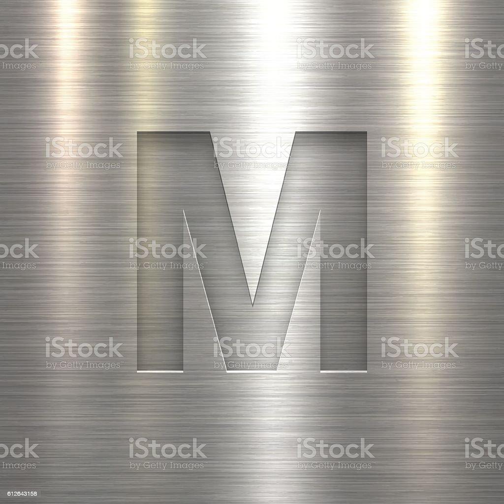 Alphabet M Design - Letter on Metal Texture Background vector art illustration