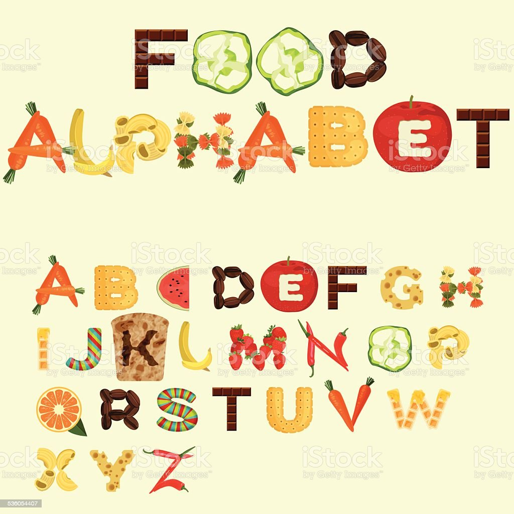 Alphabet made of different food in flat design vector art illustration
