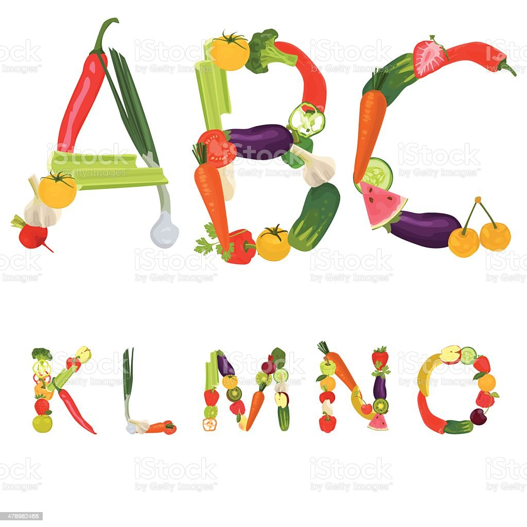 Alphabet made of fruits and vegetables vector art illustration