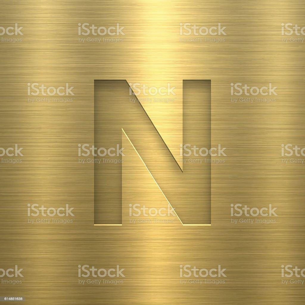 Alphabet N Design - Letter on Gold Metal Texture vector art illustration
