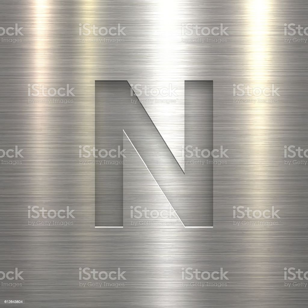Alphabet N Design - Letter on Metal Texture Background vector art illustration